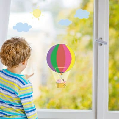 Peppa's hot air balloon window sticker pack perfect for decorating a child's bedroom with a Peppa Pig theme