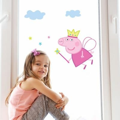 Fairy Peppa window sticker pack a perfect way to decorate your child's room with a Peppa Pig themee