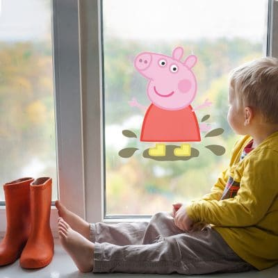 Peppa in muddy puddles window sticker perfect for decorating a child's bedroom with a Peppa Pig theme