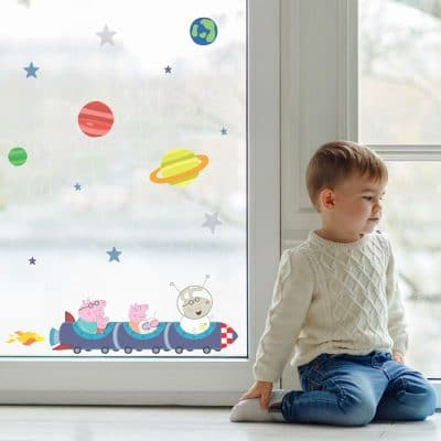 rocket train window sticker perfect for decorating your child's bedroom with a space Peppa Pig theme!