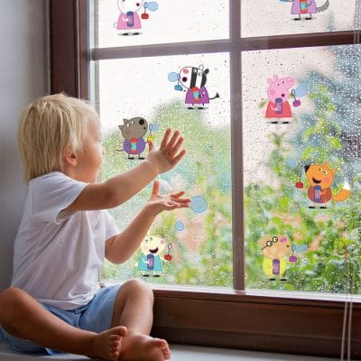 Peppa & friends blowing bubbles window sticker perfect adding a Peppa Pig theme to your child's bedroom