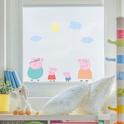 Peppa & family window sticker pack perfect for decorating your child's bedroom with a Peppa Pig theme