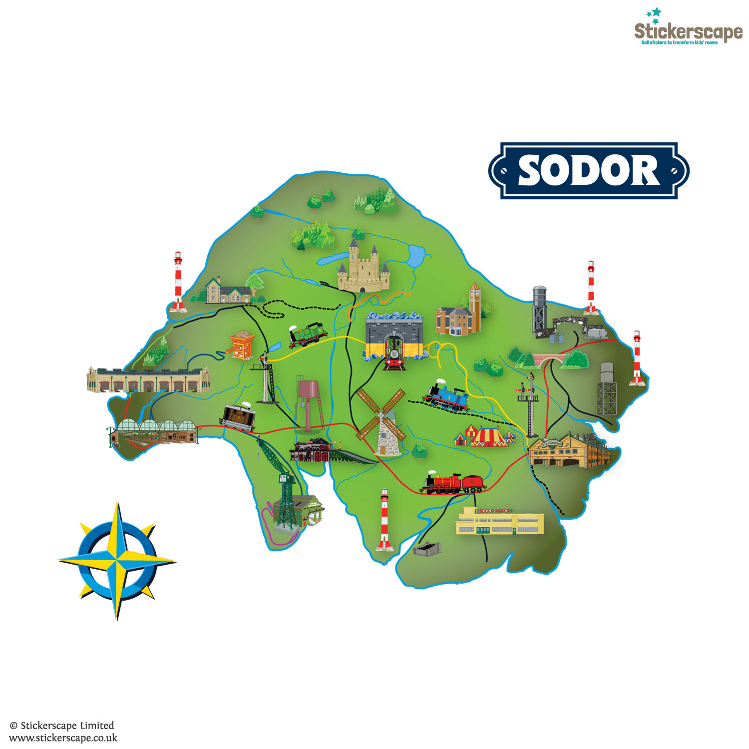 Wall Sticker Quotes Uk Sodor Island Map Wall Sticker Thomas Amp Friends