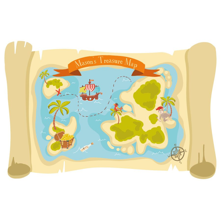 Personalised treasure map wall sticker | Pirate wall stickers | Stickerscape | UK