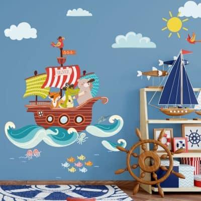 Personalised pirate ship wall sticker | Pirate wall stickers | Stickerscape | UK