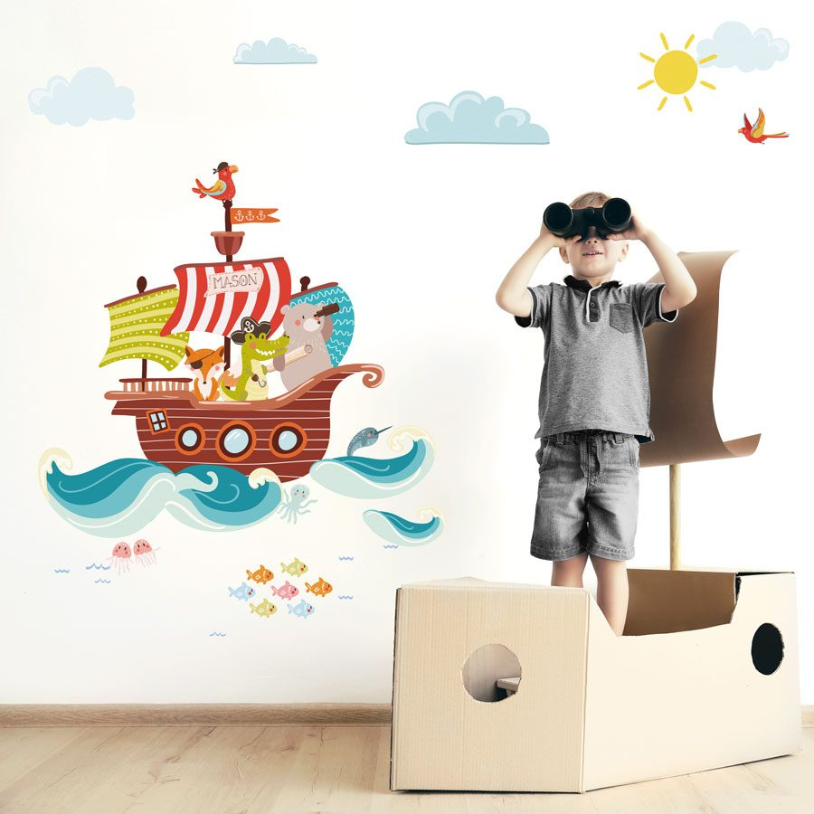 Personalised pirate ship wall sticker | Pirate wall stickers | Stickerscape | UK