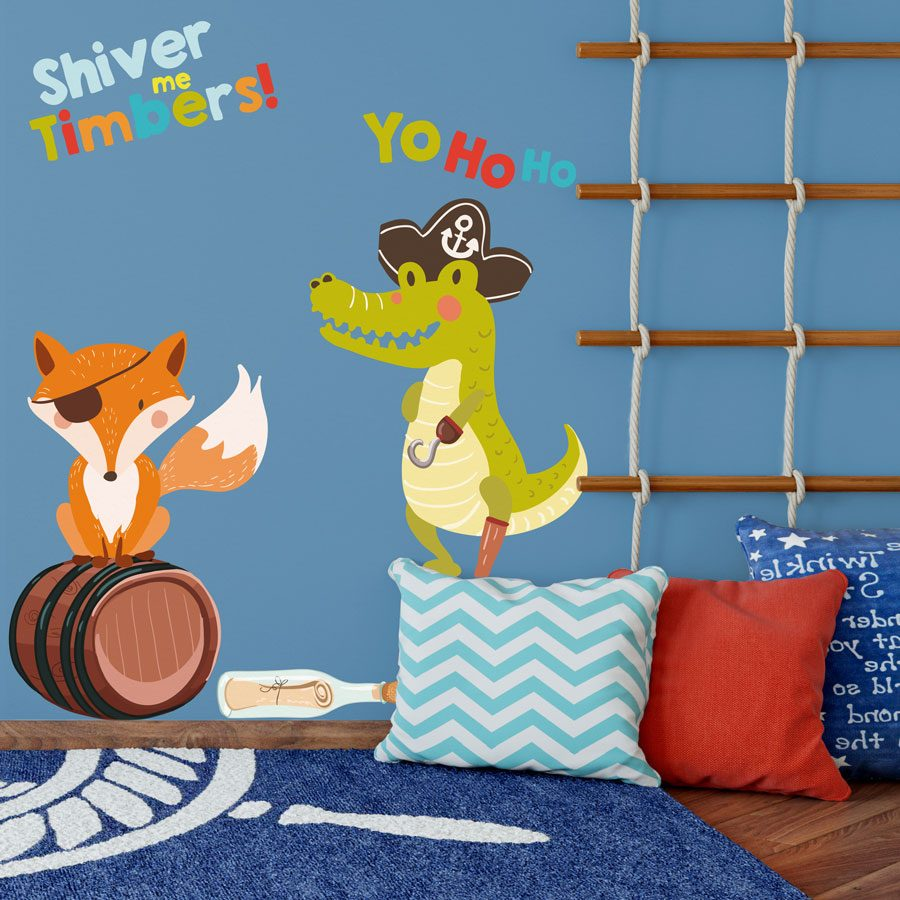 Pirate fox and alligator wall sticker pack | Pirate wall stickers | Stickerscape | UK