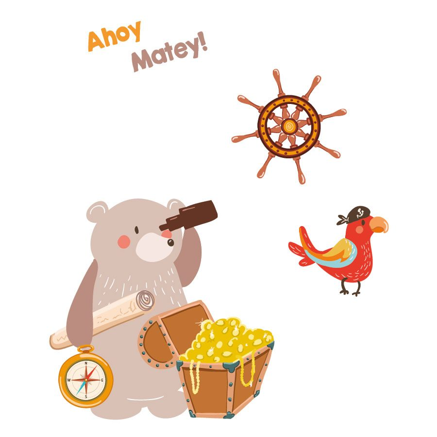 Pirate bear and parrot wall sticker pack | Pirate wall stickers | Stickerscape | UK