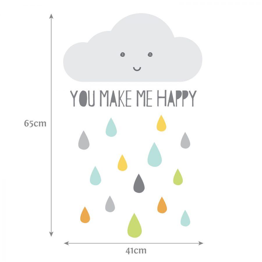 Happy Cloud wall sticker (Dimensions) | Scandinavian theme | Stickerscape | UK
