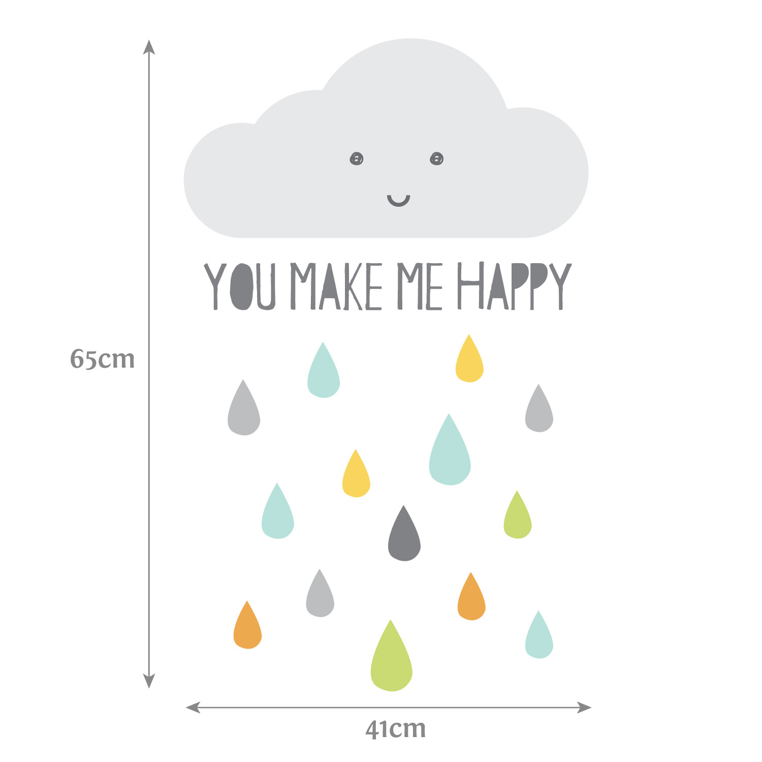 Happy Cloud wall sticker (Dimensions) | Scandinavian theme | Stickerscape | UK