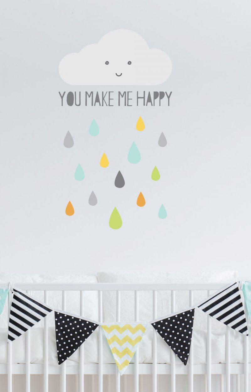 Happy Cloud wall sticker | Nursery wall stickers | Stickerscape