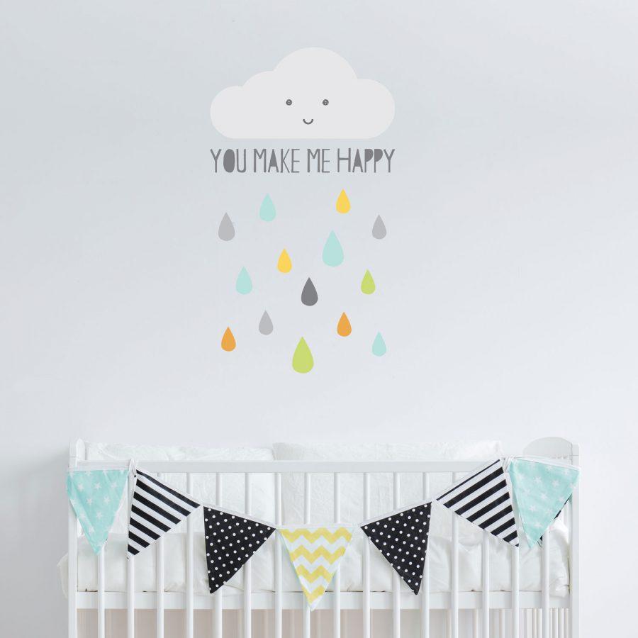Happy Cloud wall sticker | Scandinavian theme | Stickerscape | UK