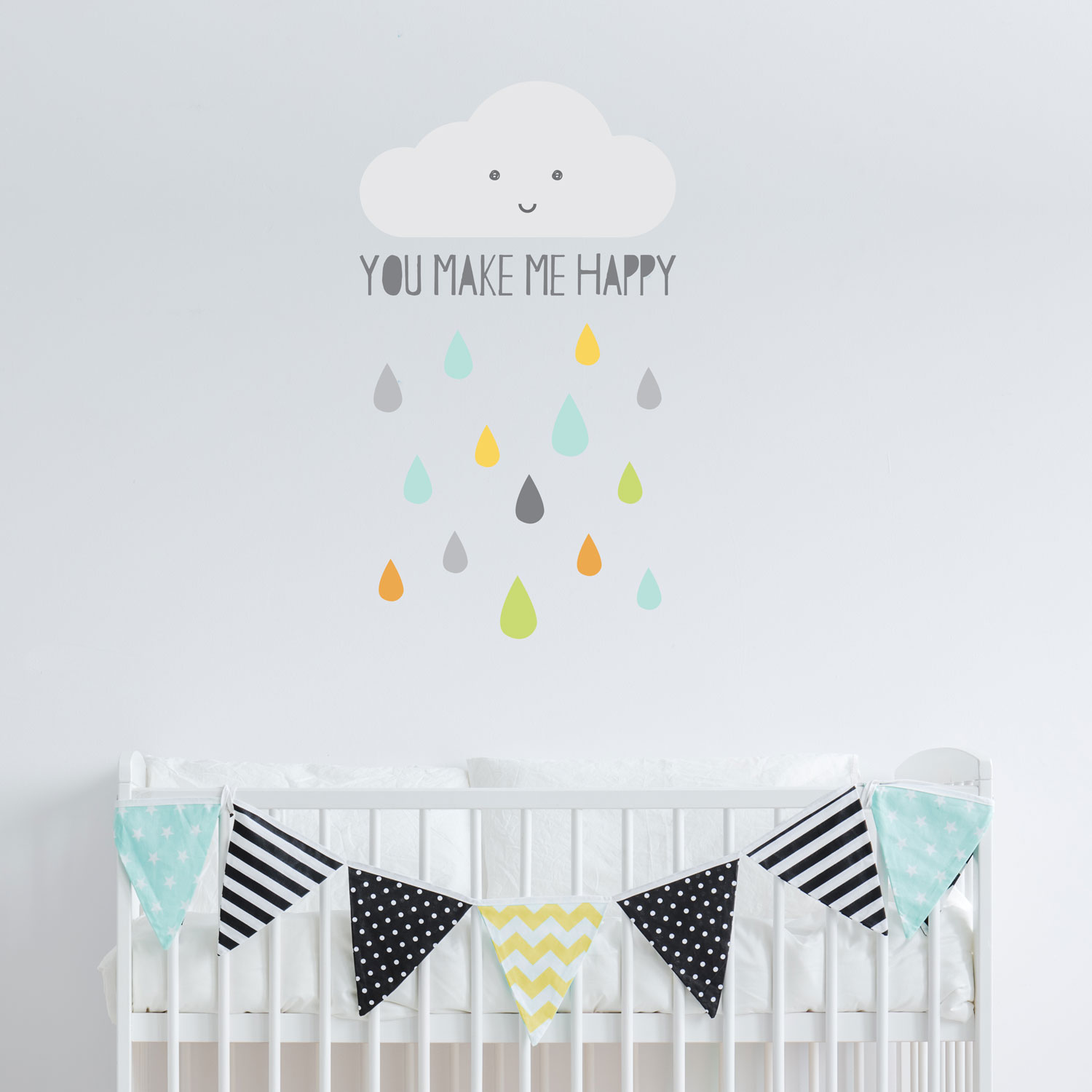 Happy Cloud wall sticker | Scandinavian theme | Stickerscape | UK