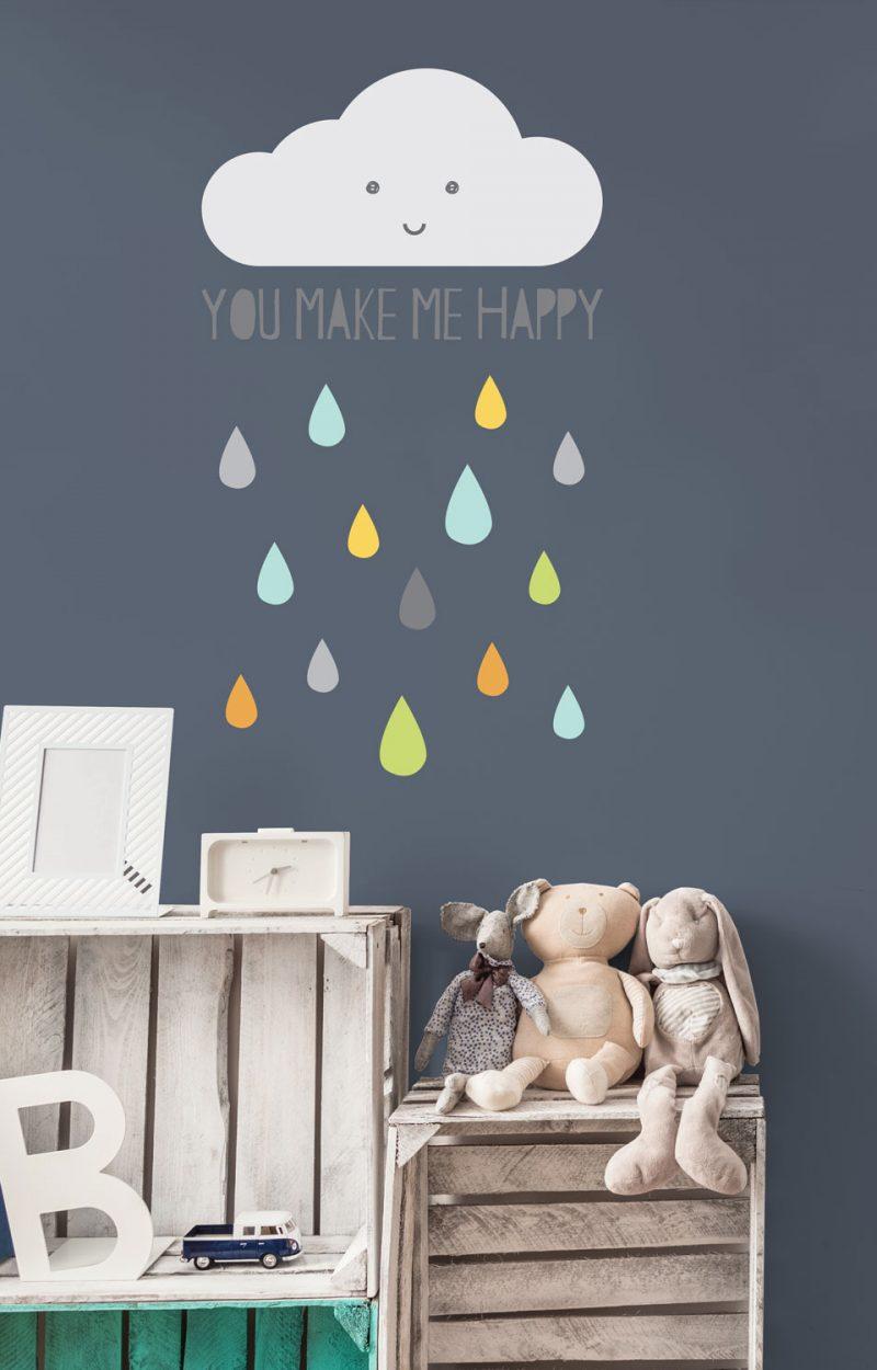 Happy Cloud wall sticker   Nursery wall stickers   Stickerscape