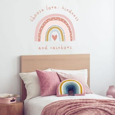 Love, kindness and rainbows wall sticker perfect for decorating a child's bedroom or baby's nursery
