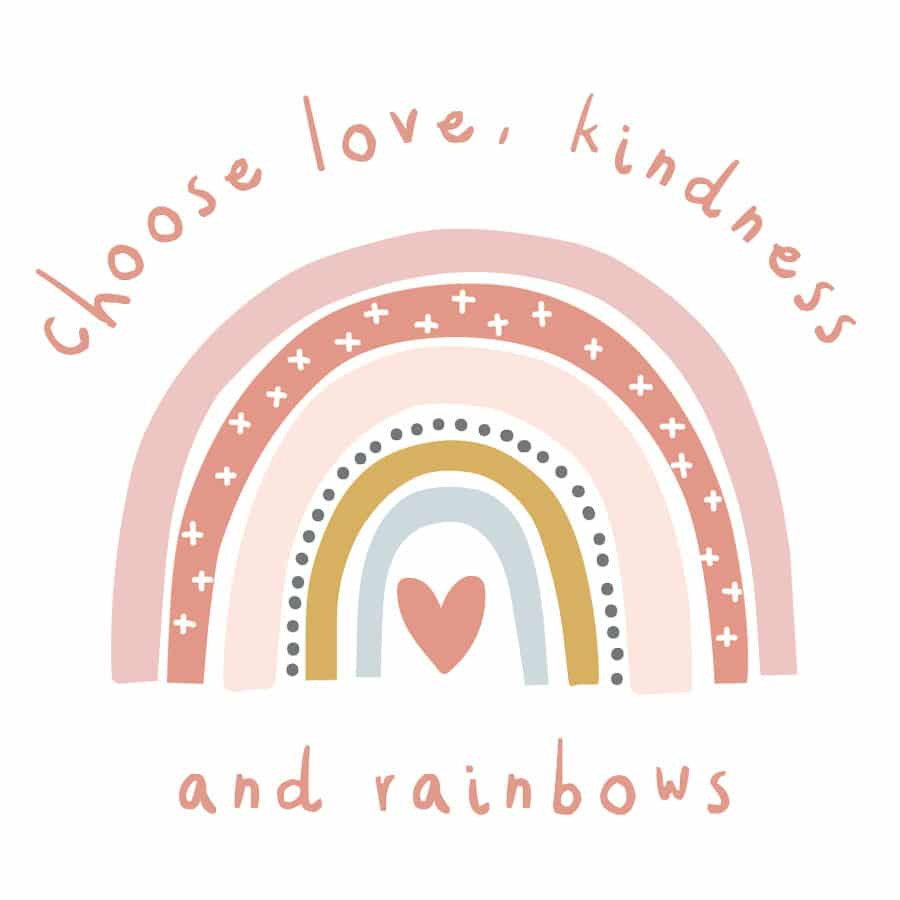 Love, kindness and rainbows wall sticker on a white background