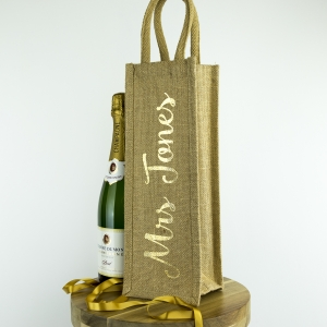 Personalised bottle bag with shimmer - Gold