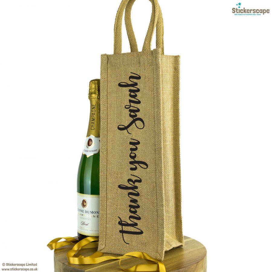 Personalised thank you bottle bag   Bottle bag gifts   Stickerscape   UK