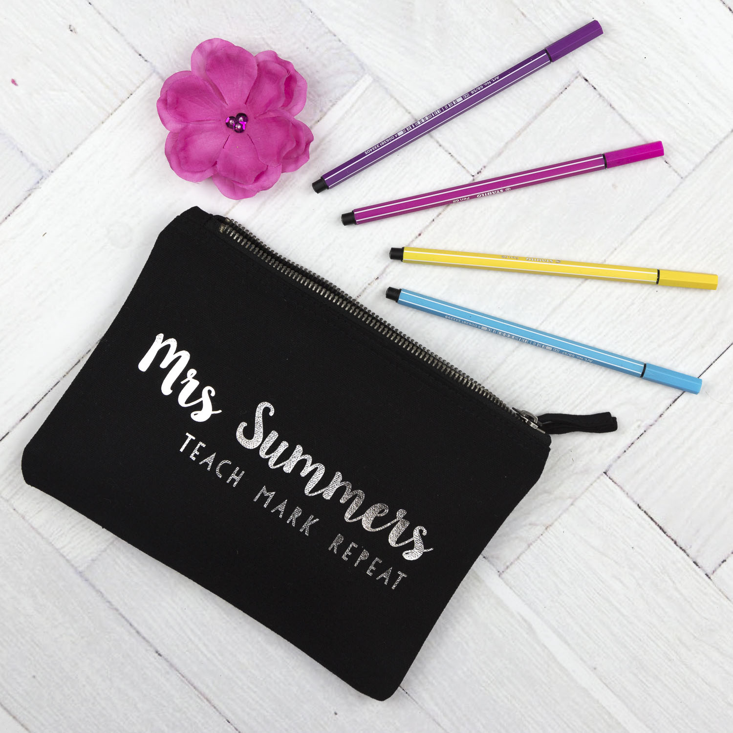 Personalised Pencil Case Teach Mark Repeat (Navy case - Silver text)