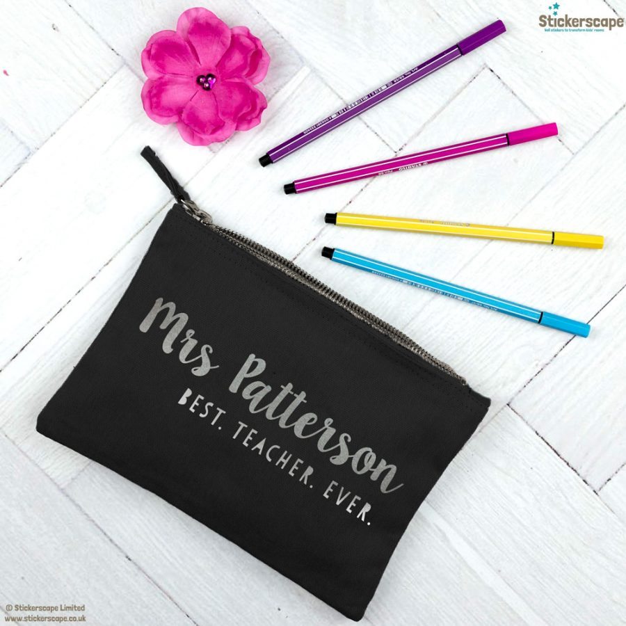 Personalised Best Teacher Ever pencil case (Black case - Silver text)