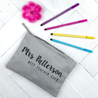 Personalised Best Teacher Ever pencil case (Grey case - Anthracite text)
