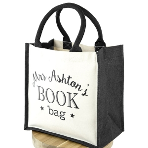 Personalised canvas book bag | Teacher gifts | Stickerscape | UK