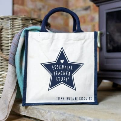 Essnetial Teacher Stuff canvas bag (Navy) features a pink canvas bag perfect as a gift for a teacher at the end of school term or just to say thank you