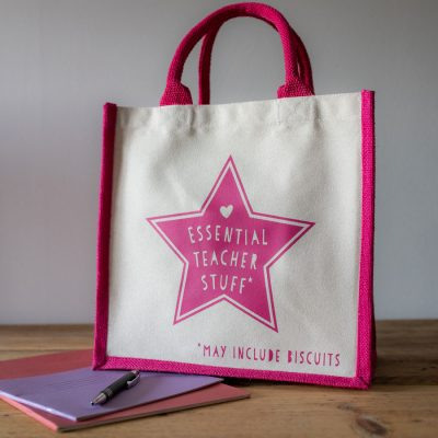 Essential Teacher Stuff canvas bag perfect teacher gift for the end of school year, Christmas or just to say thank you
