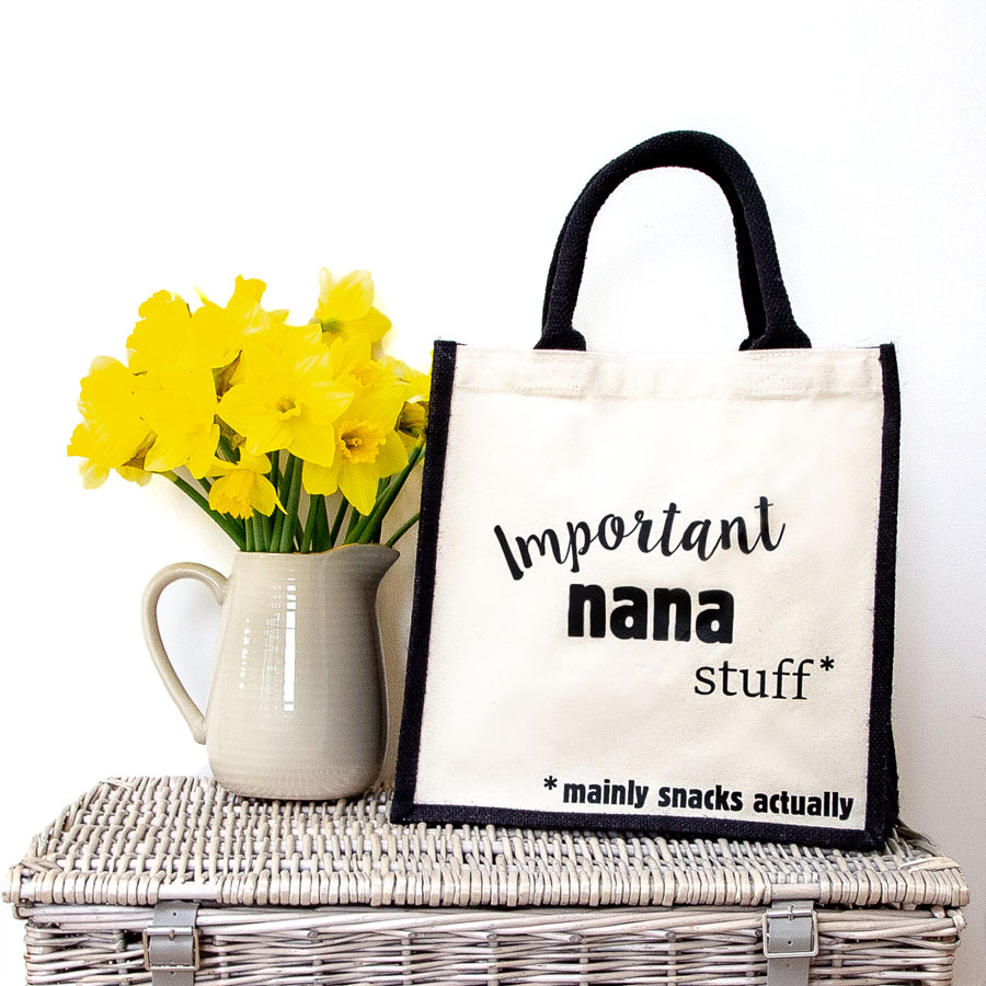 Important nana stuff canvas bag (Black bag) perfect as a gift for Grandma or for Mother's day