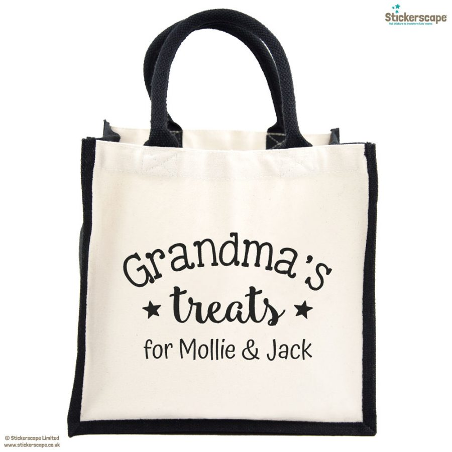 Personalised Grandma's treats canvas bag (Black bag - Black text) | Gifts for grandparents | Stickerscape | UK