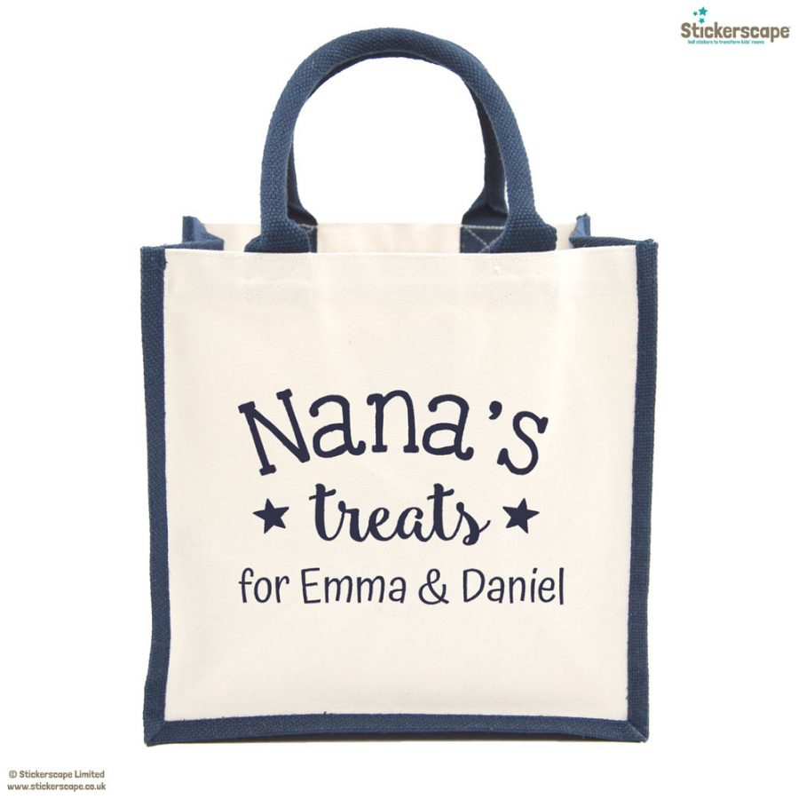 Personalised Grandma's treats canvas bag (Navy bag - Navy text) | Gifts for grandparents | Stickerscape | UK