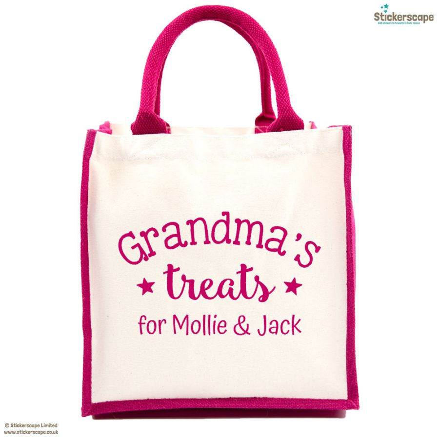 Personalised Grandma's treats canvas bag (Pink bag - Pink text) | Gifts for grandparents | Stickerscape | UK