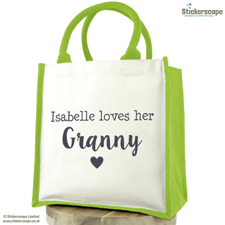 Personalised Grandma love canvas bag | Gifts for grandparents | Stickerscape | UK