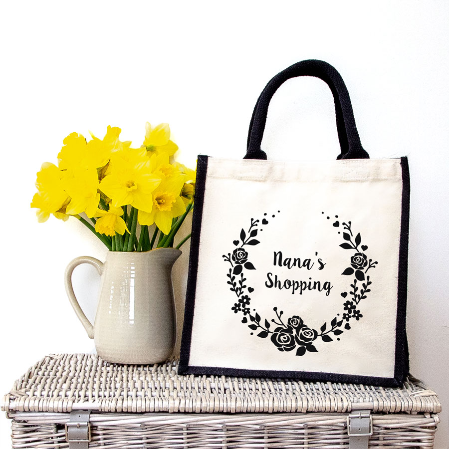 Nana's wreath shopping canvas bag (Black bag) perfect as a gift for Mother's Day