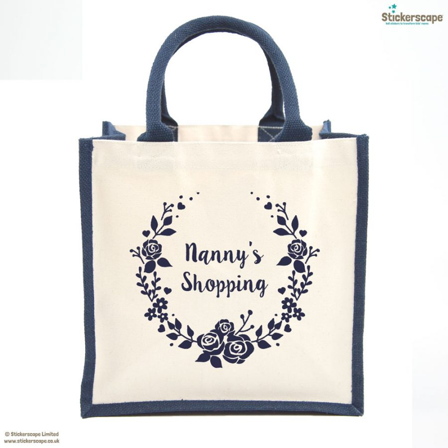 Grandma's wreath shopping canvas bag | Gifts for grandparents | Stickerscape | UK