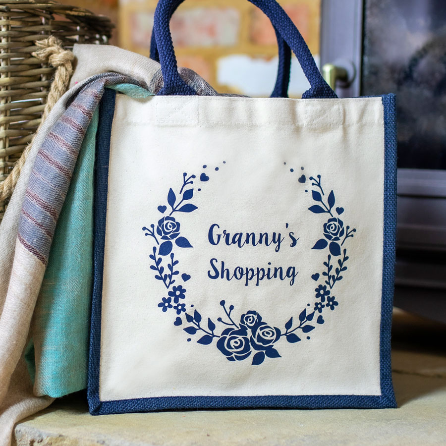 Granny's wreath shopping canvas bag (Navy bag) perfect as a gift for Mother's Day