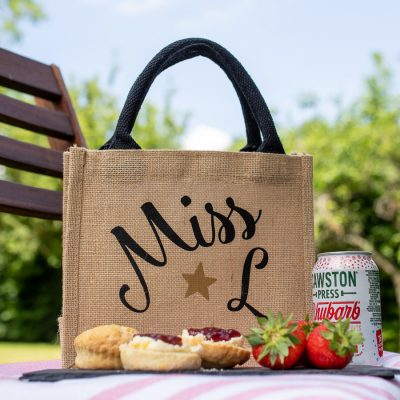 Personalised initial jute bag perfect teacher gift for the end of term of Christmas