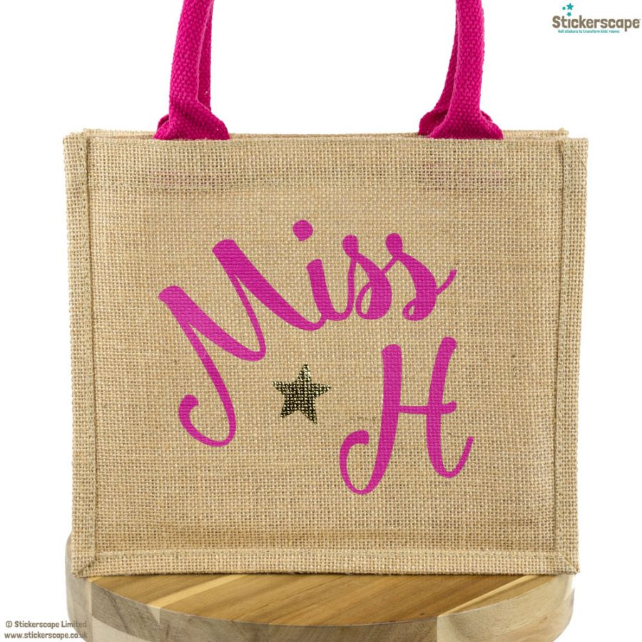 Personalised mini jute bag (Pink bag - Pink text) | Teacher gifts | Stickerscape | UK