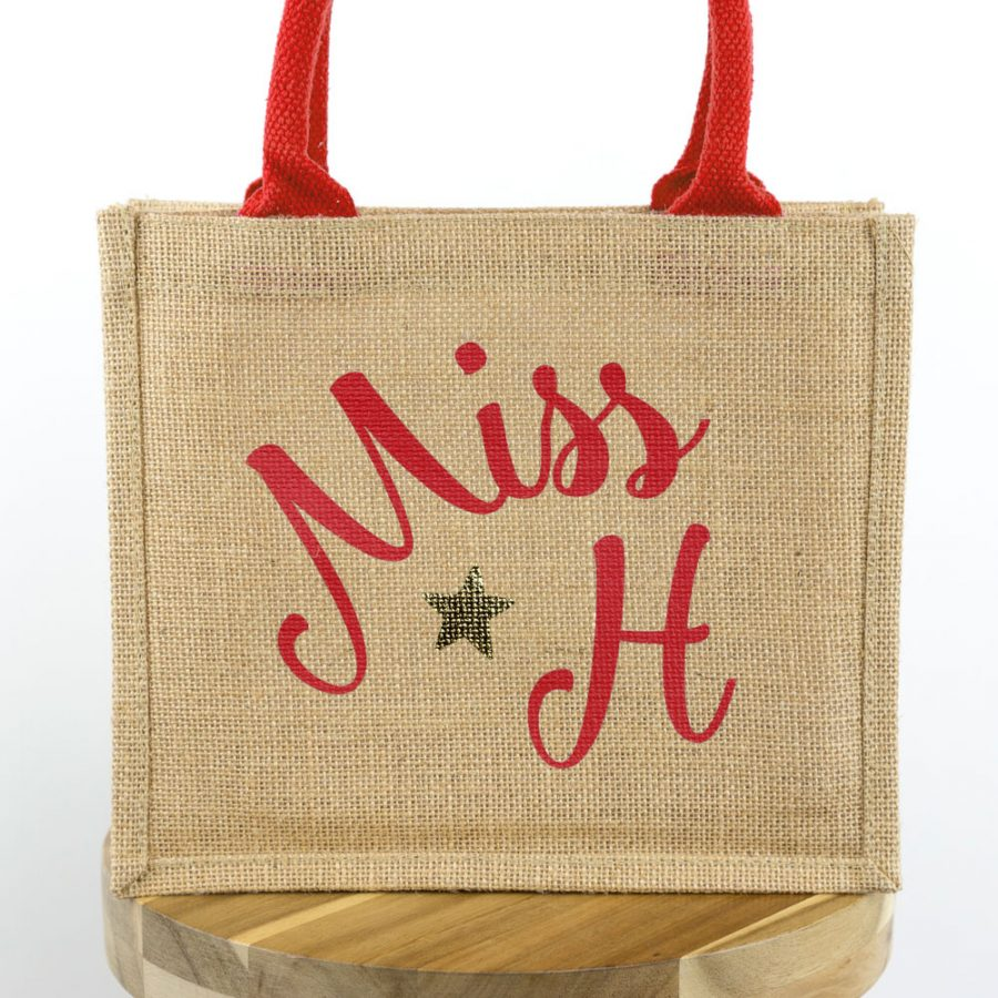 Personalised jute bag (Red bag - Red text)