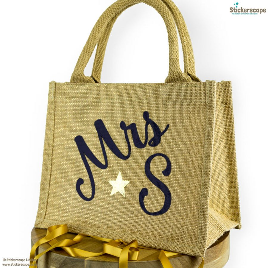 Personalised mini jute bag (Shimmer bag - Anthracite text) | Teacher gifts | Stickerscape | UK