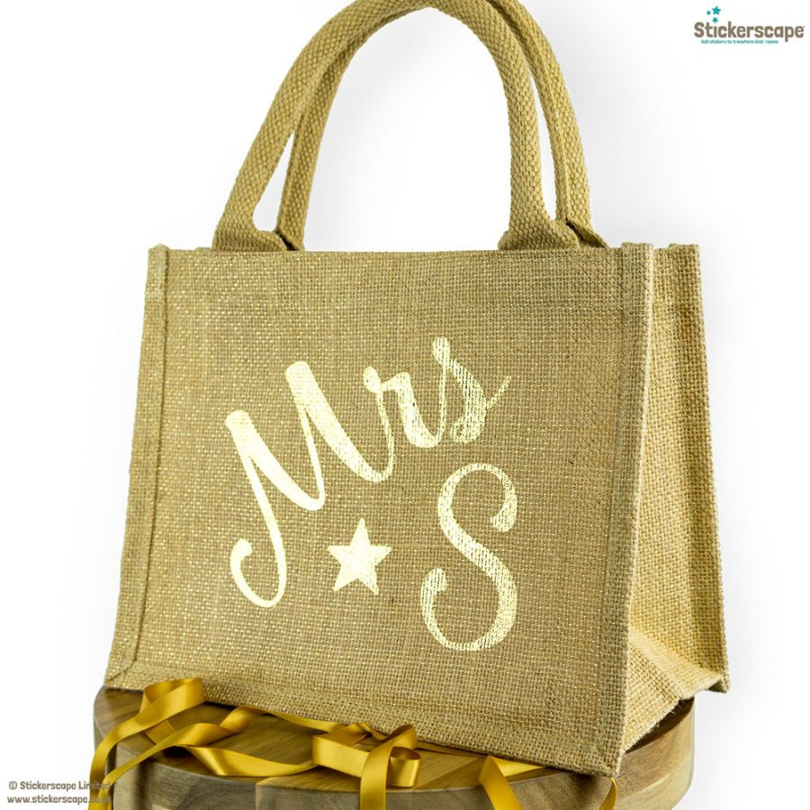 Personalised mini jute bag (Shimmer bag - Gold text) | Teacher gifts | Stickerscape | UK