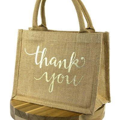 Thank you jute gift bag (Gold)