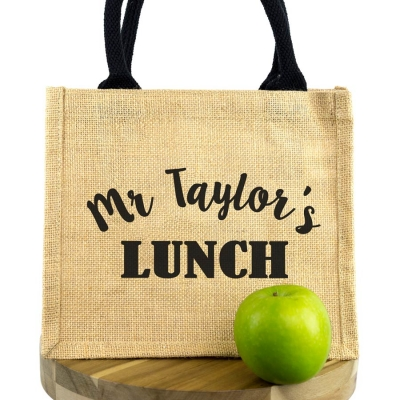 Personalised lunch bag (Black bag - Black text)