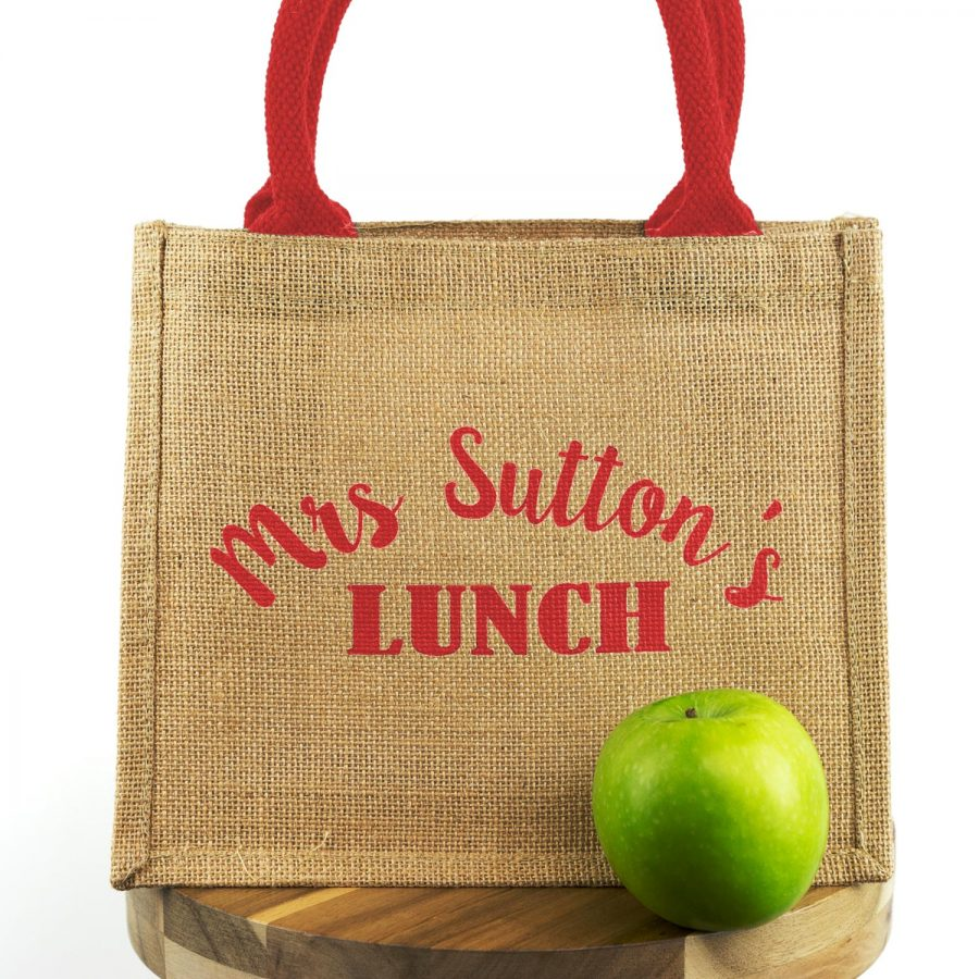 Personalised lunch bag (Red bag - Red text)