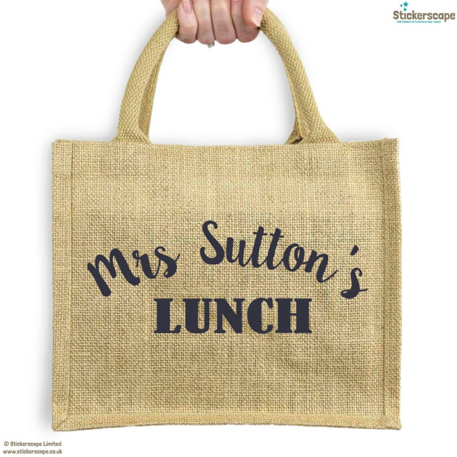 Personalised lunch bag (Shimmer bag - Anthracite text)