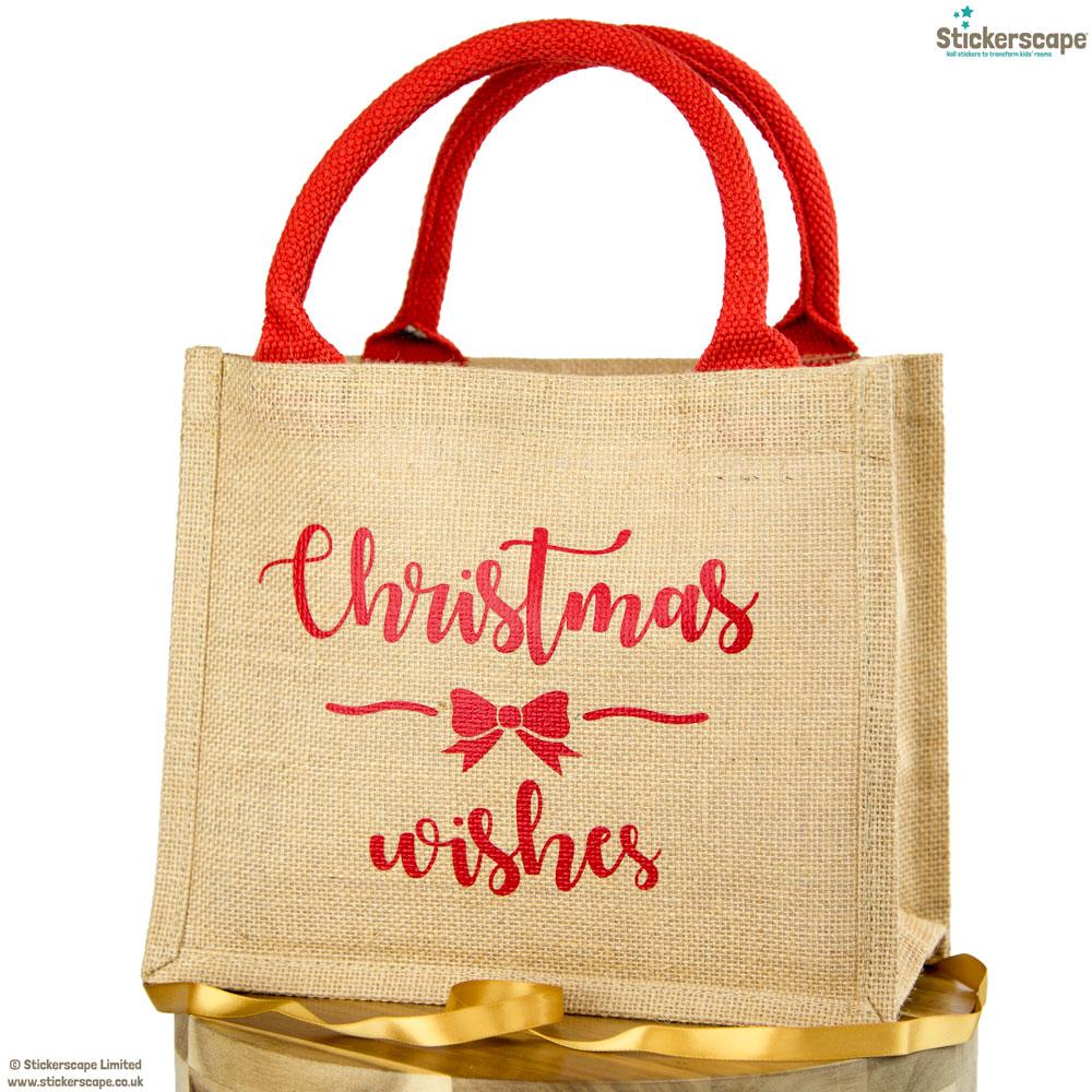Christmas Wishes jute bag | Christmas gift bag | Stickerscape | UK