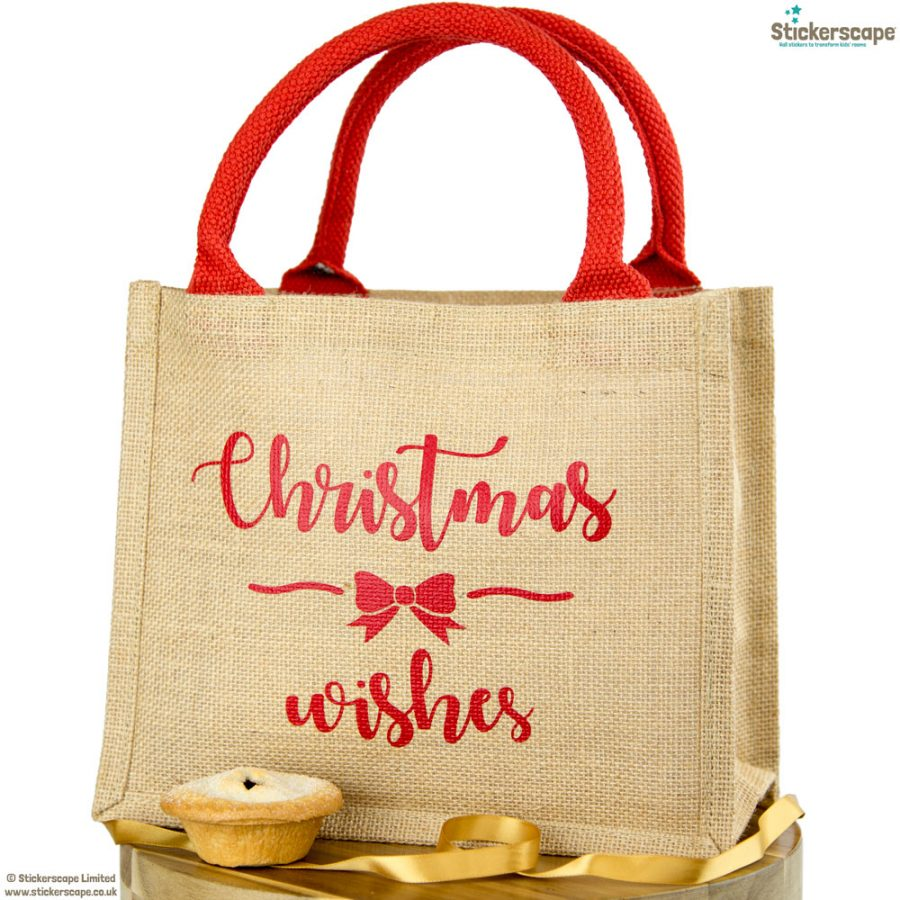 Christmas Wishes jute bag | Christmas gift bag | Stickerscape | UK