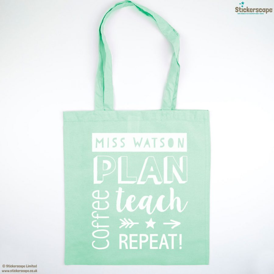 Personalised coffee tote bag (Mint bag - White text)   Personalised gifts   Stickerscape   UK