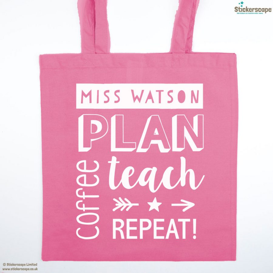 Personalised coffee tote bag (Pink bag - White text)   Personalised gifts   Stickerscape   UK