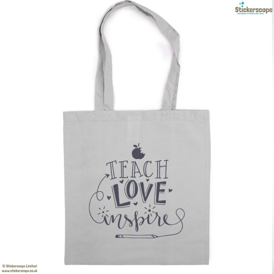 Teach, Love, Inspire tote bag (Light grey bag - Anthracite text) | Teacher gifts | Stickerscape | UK